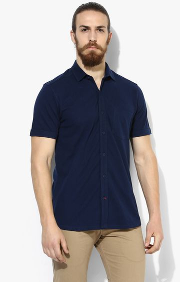 RED CHIEF | Dark Blue Solid Casual Shirt