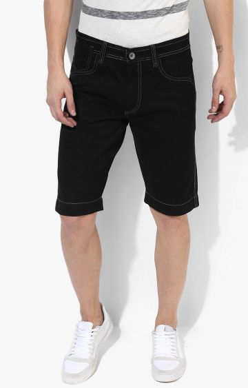 RED CHIEF | Black Solid Shorts