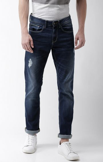 celio | Mid Blue Ripped Slim Fit Jeans