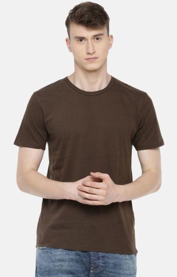 celio   Brown Solid T-Shirt