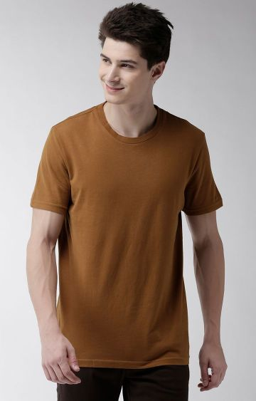 celio   Brown Solid Straight Fit T-Shirt