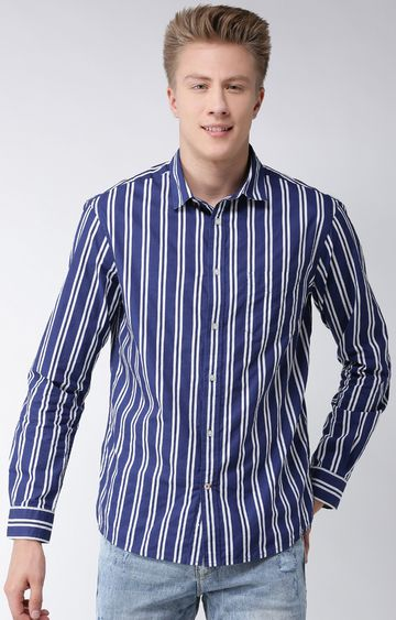 celio | Blue Striped Regular Fit Casual Shirt