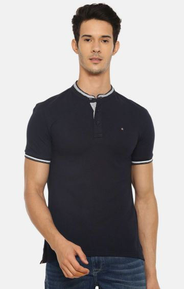 celio | Navy Solid Polo T-Shirt
