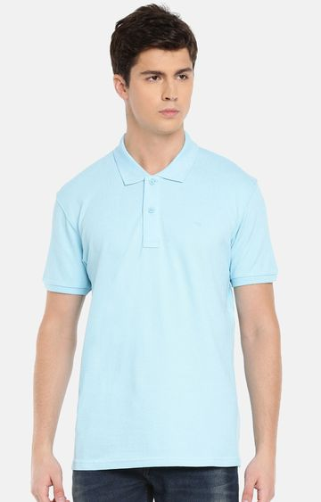 celio | Blue Solid Straight Fit Polo T-Shirt