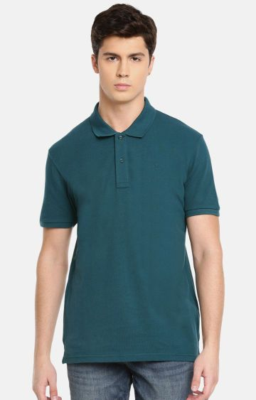 celio | Teal Solid Polo T-Shirt