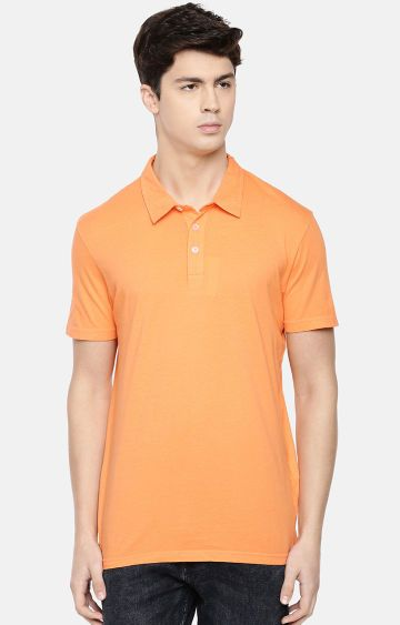 celio | Orange Solid Polo T-Shirt