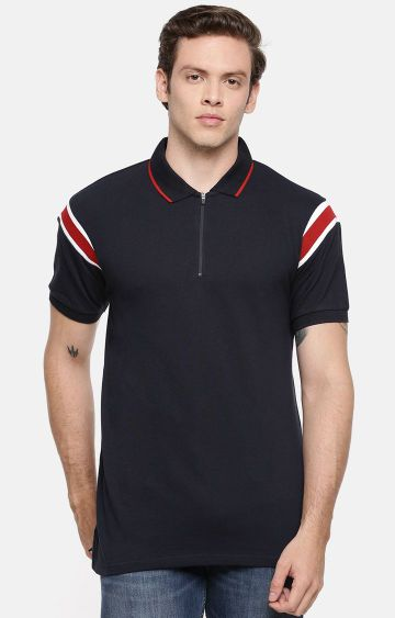 celio | Navy Striped Polo Regular Fit T-Shirt
