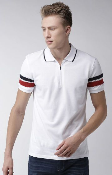celio | White Striped Polo Regular Fit T-Shirt