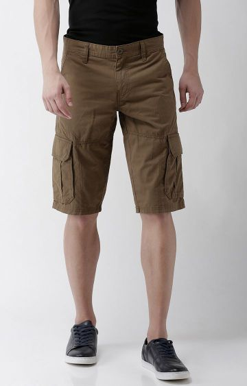 celio | Brown Solid Shorts