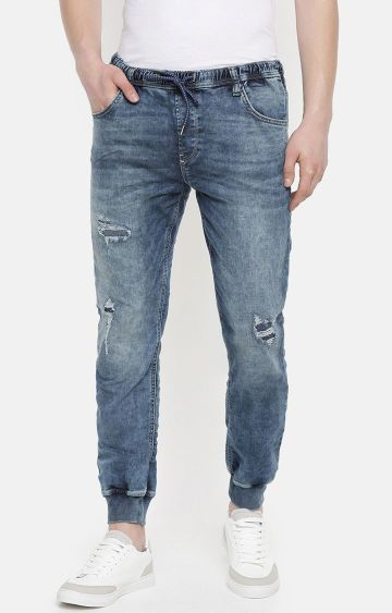 celio | Blue Ripped Joggers