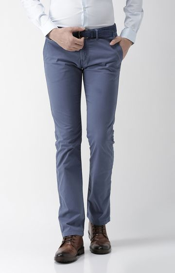 celio | Blue Solid Straight Fit Chinos