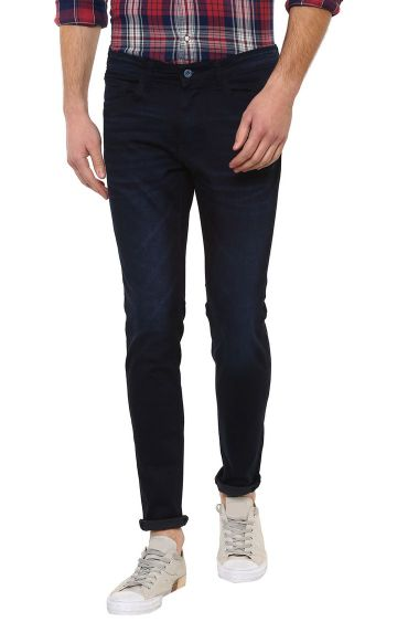 celio | Navy Blue Solid Straight Skinny Fit Jeans