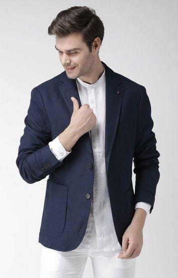 celio | Blue Solid Slim Fit Blazer