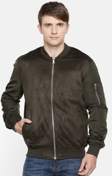 celio | Olive Solid Straight Fit Bomber Jacket