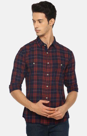 celio   Indigo Checked Casual Shirt