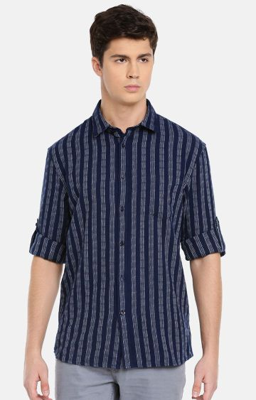celio | Navy Striped Casual Shirt