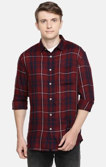 celio | Maroon Checked Casual Shirt