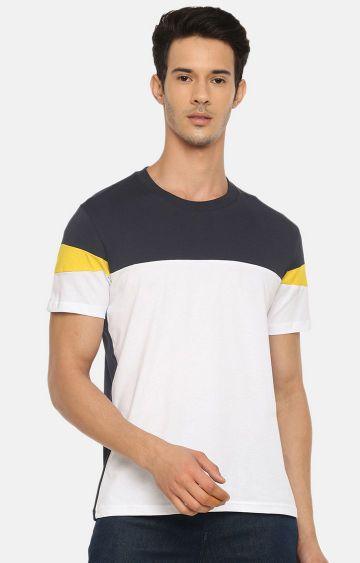 celio | Navy and White Colourblock T-Shirt