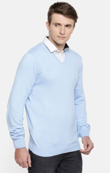 celio | Light Blue Solid Straight Fit Sweater