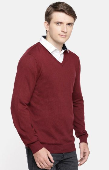 celio | Maroon Solid Straight Fit Sweater