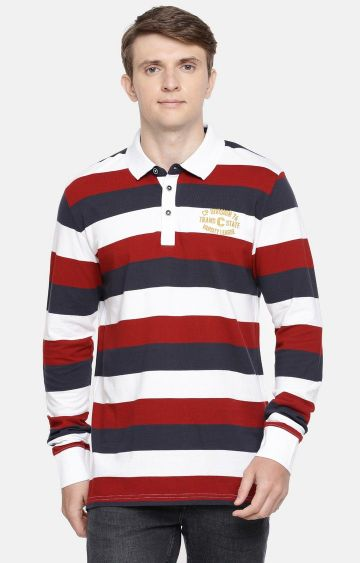 celio | Multicoloured Striped Polo T-Shirt