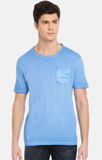 celio   Blue Striped T-Shirt