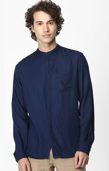 celio | Navy Solid Soft Touch Regular Fit Casual Shirt
