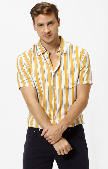 celio | Mustard Striped Casual Shirt