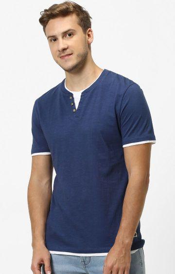 celio   Navy Solid T-Shirt