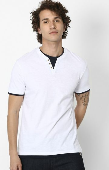 celio   White Solid Regular Fit T-Shirt