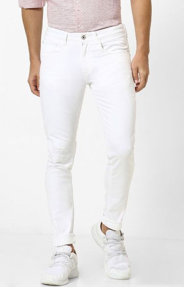 celio | White Solid Tapered Jeans