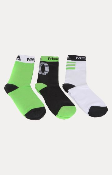 adidas | Green, Black and White Printed Socks - Pack of 3