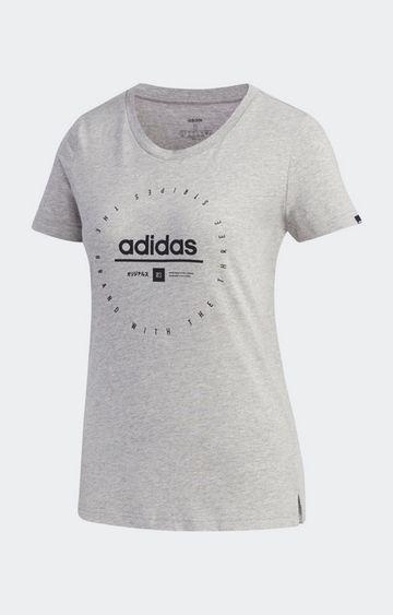 adidas   Grey Printed W Adi Clock T-Shirt