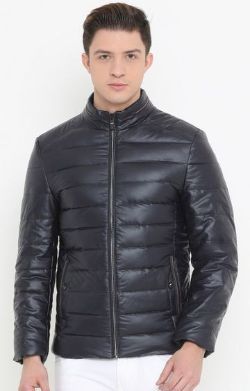 Showoff | Navy Blue Solid PU Leather Jacket