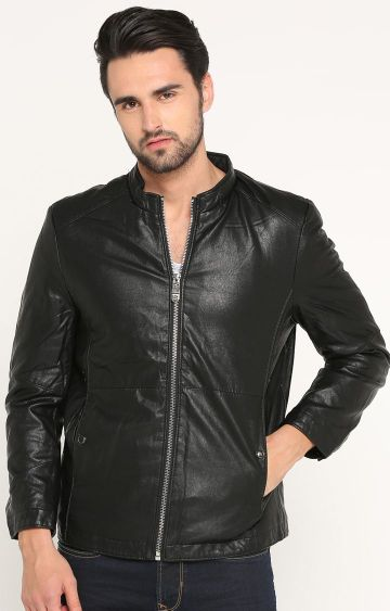 Showoff | Black Solid Leather Jacket