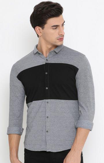 Showoff | Black and Grey Colourblock Casual Shirt