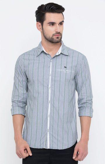 Showoff | Grey Striped Casual Shirt