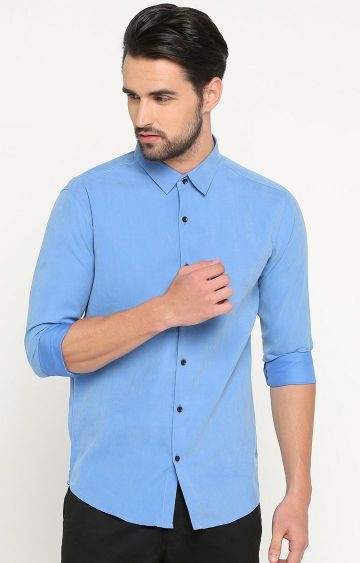 Showoff | Blue Solid Casual Shirt