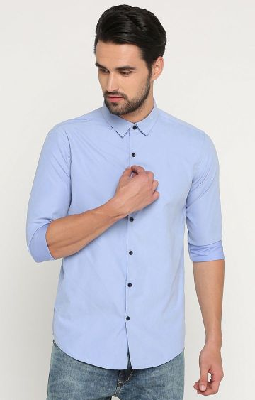 Showoff | Light Blue Solid Casual Shirt