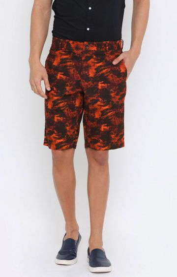 Showoff | Orange Printed Shorts