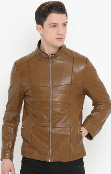 Showoff | Brown Solid PU Leather Jacket