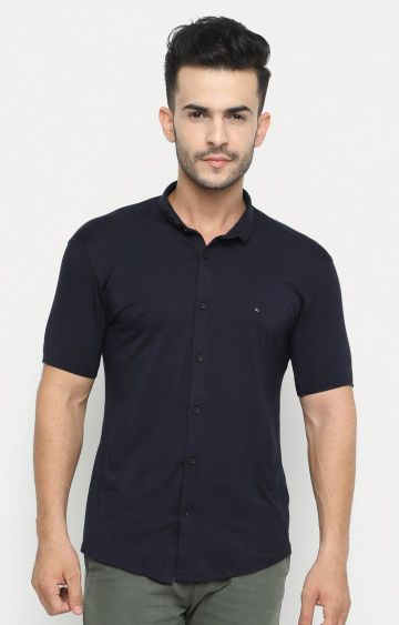 Showoff | Navy Blue Solid Casual Shirt