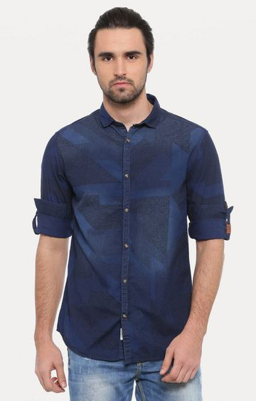 Showoff   Dark Blue Solid Casual Shirt