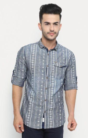 Showoff   Blue Printed Casual Shirt
