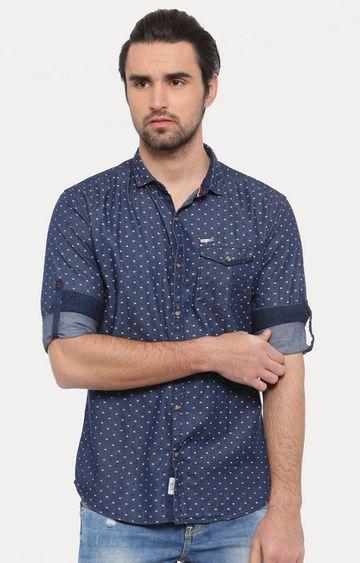 Showoff   Dark Blue Polka Dots Casual Shirt