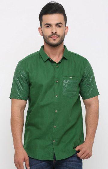 Showoff | Green Melange Casual Shirt
