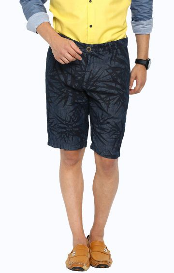 Showoff | Navy Blue Printed Shorts