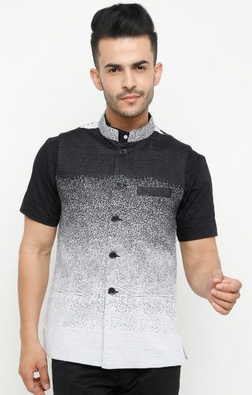Showoff | Black Printed Ethnic Jacket