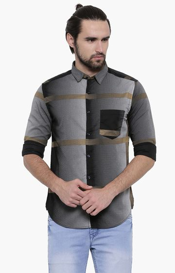 Showoff | Black Colourblock Casual Shirt