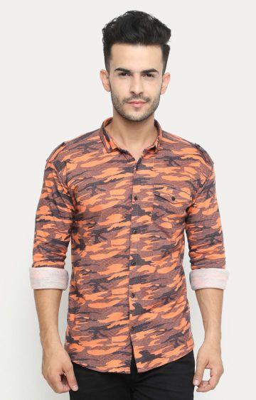 Showoff | Orange Printed Casual Shirt